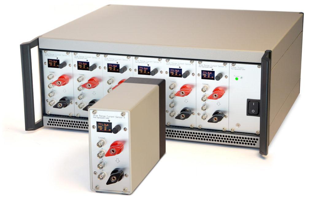 WRCS III: Weitbereich Strommessung Weitbereich Stromsensor als Modul und im 19-Zoll Rack mit sechs Modulen
